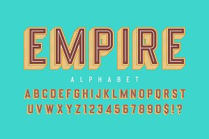 Retro 3d empire display font design