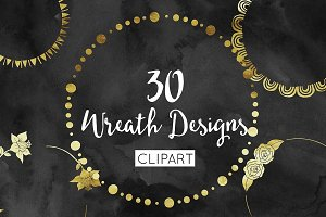 Gold Foil Wreath Clipart