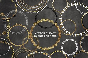Gold Foil Vector Wreath Clipart