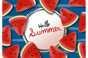 Watermelon background summer banner