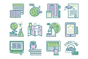 Set of flat design outline icons