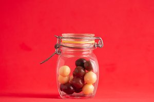 jar with black and white chocolate b