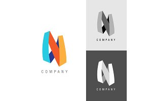 Logo design element. Letter symbol N