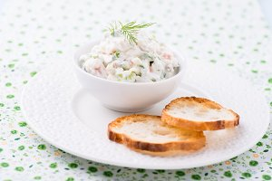 Soft cheese spread with salmon