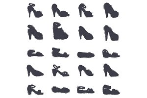 Set of womens shoes black silhouette