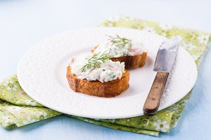 Canapes with soft cheese spread
