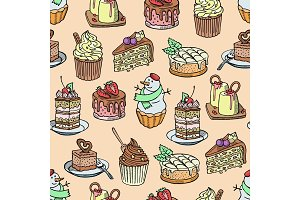 Cakes and cupcakes vector piece of