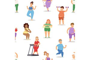 Fat people doing exercise training