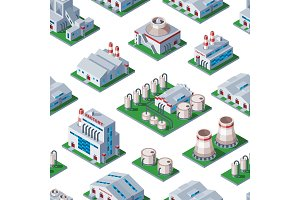 Isometric factory building seamless