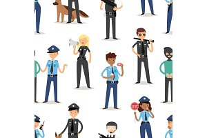 Policeman characters funny cartoon