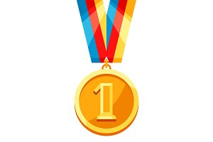 Gold medal with multi colored ribbon