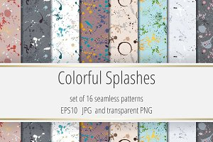 Colorful splashes. 16 Patterns