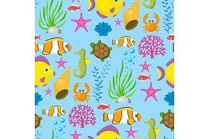 Aquatic funny sea animals underwater