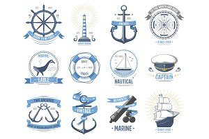 Sea nautical vector old rettro badge