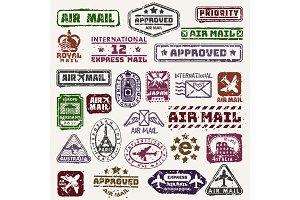 Vector vintage postage mail stamps