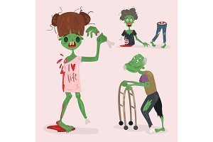 Colorful zombie scary cartoon