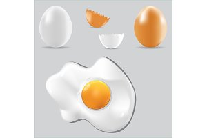 Egg vector healthy food set