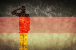 German grunge flag with soldier silh