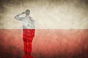 Polish grunge flag with soldier silh