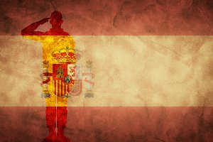 Spanish grunge flag with soldier sil