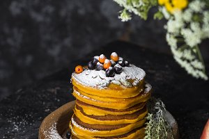 Pumpkin pancakes with cinnamon
