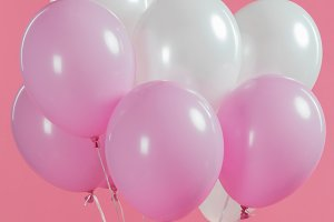 Decorative white and pink balloons i