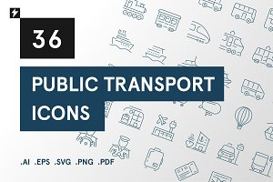 36 Public Transport Icons Set