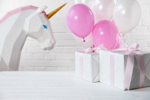 Decorative unicorn and balloons with