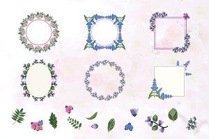 Flower Wreath Frame Flat Floral Set