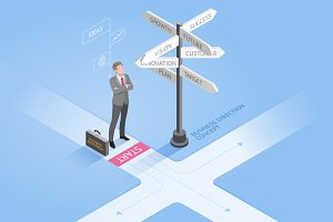 Businessman Standing Crossroad
