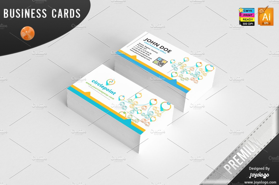 3D Circle Point Social Media BC ~ Business Card Templates ~ Creative ...