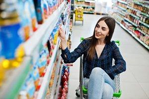 Shopping woman at supermarket