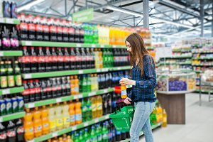Shopping woman at supermarket