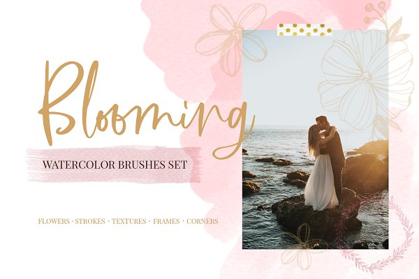 Photoshop Brushes: beauty drops - Blooming watercolor brushes set