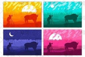 Photographer photographs bison