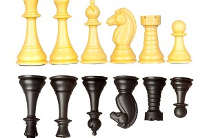 Set of black and white chess pieces