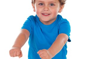 Active small child with blue t-shirt