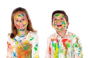 Happy children painting