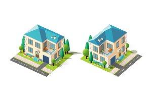 Isometric set beige house