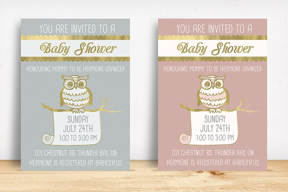 Owl baby shower invitation invitation templates creative market owl baby shower invitation invitations filmwisefo