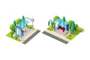 Isometric set bus station
