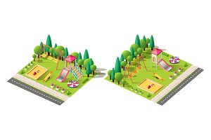 Isometric set children playground