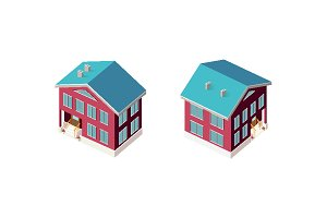 Isometric set country house