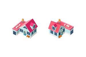 Isometric set house with garage