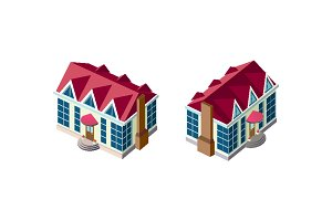 Isometric set house with red roof