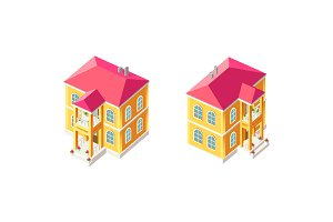 Isometric set yellow country house
