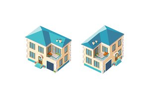 Isometric set beige country house