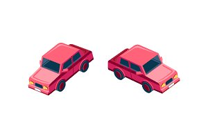 Isometric set red sedan car