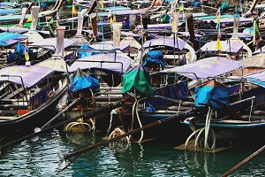 Longtail boats in Harbour