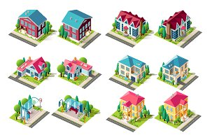 Isometric set house, bus station